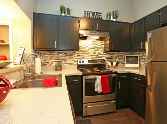 Brownstone Townhomes kitchen area with decor