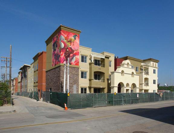 La Entrada Apartments exterior building and sidewalk