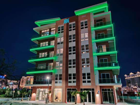 Neon Green Exterior Lights at Jade