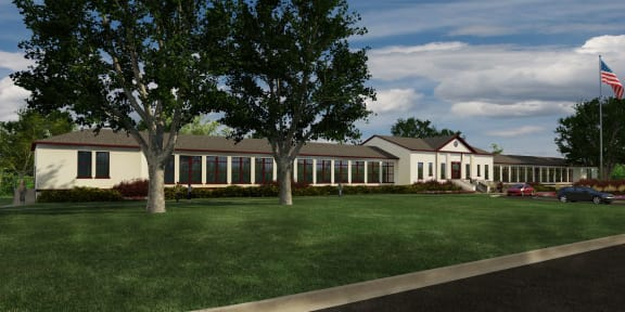 Rendering-Exterior of clubhouse, Beautiful landscaping