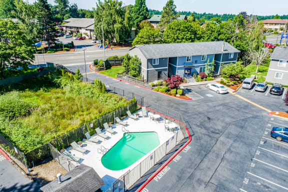 An aerial view image of the property and pool.