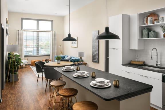 Kitchen at The Jamestown Apartment Flats, Richmond, VA, 23224