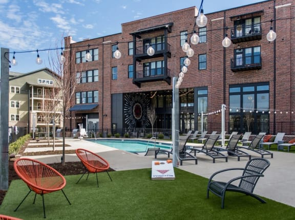 Pool And Green Space at Livingston Apartment Flats, Chesterfield