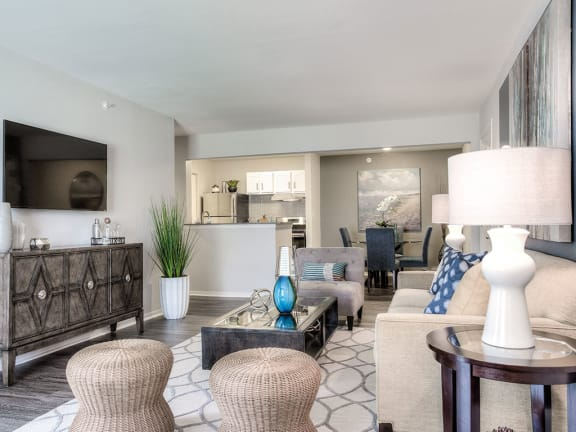 Living room area at The Villas at Main Street, Ann Arbor, MI, 48103