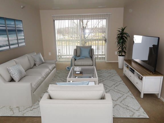 Two Bedroom Buckingham Layout Living Room at Windsor Place Apartments, Davison