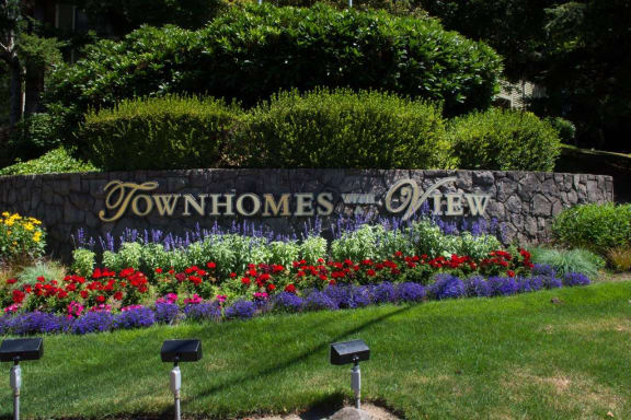 Townhomes with a View Exterior Monument Sign and Landscaping