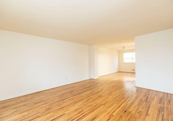 Shiny hardwood floors in the living room
