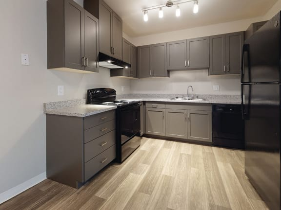 Vacant Two Bedroom Kitchen Wide at Park Villas Apartments in National City