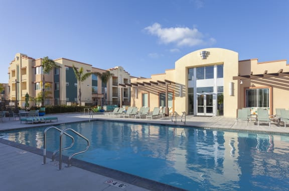 Sleek Outdoor Swimming Pool at Hancock Terrace Apartments, Santa Maria, 93454