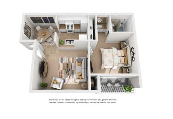 one_bed_floor_plan at Shepard Place, Carpinteria, CA, 93013