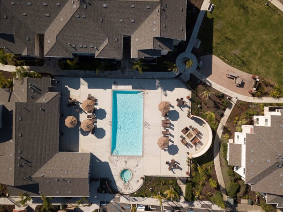 pool_area_aerial_view at Siena Apartments, California, 93458