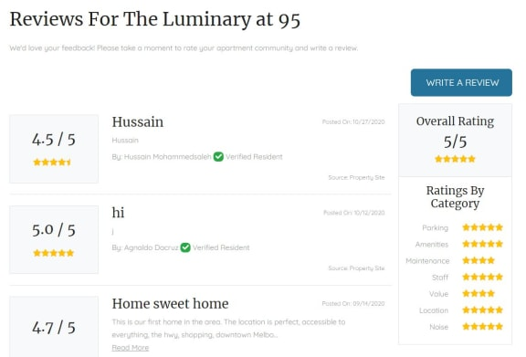 review at The Luminary at 95, West Melbourne, FL