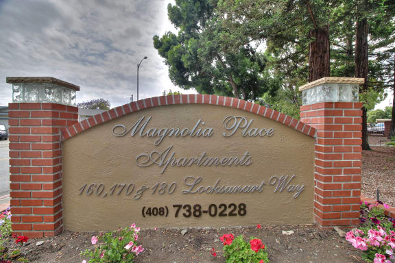 Welcoming Property Signage at Magnolia Place, Sunnyvale, California