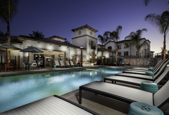 Swimming Pool with Lounge Chairs, at SETA, La Mesa, CA