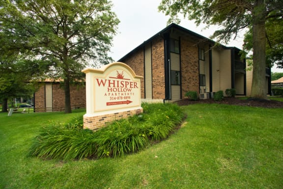 Property Signage at Whisper Hollow Apartments, Missouri, 63043