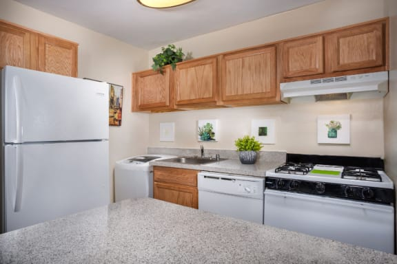 kitchen area at Park Greene apartments in Suitland MD with white appliances, stone countertops, light wood cabinets and washer-dryer unit