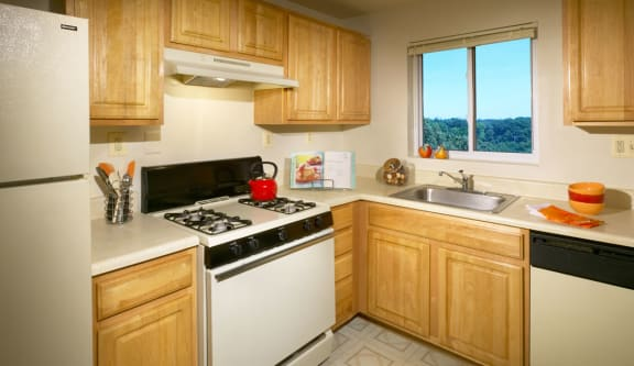 Kitchen With New Appliances at The Fields of Arlington, Arlington