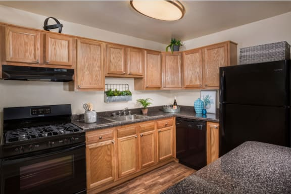 kitchen at Cheverly Station apartments in Cheverly MD with black appliances, stone countertops, light wood cabinets and wood flooring