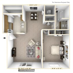 The Sycamore - 1 BR 1 BA Floor Plan at Autumn Woods Apartments, Ohio, 45342