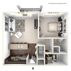 The Vienna - 1 BR 1 BA Floor Plan at Bella Vista Apartments, Indiana