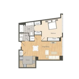A1 – 1 Bedroom 1.5 Bath Floor Plan Layout – 752 Square Feet