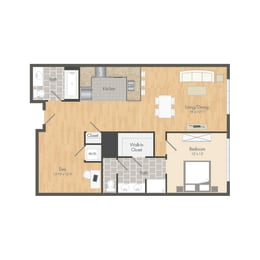 A4 – 1 Bedroom 2 Bath Floor Plan Layout – 1062 Square Feet