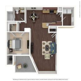 1 Bed, 1 Bath Floor Plan at Harvest Park Apartments, Santa Rosa, CA