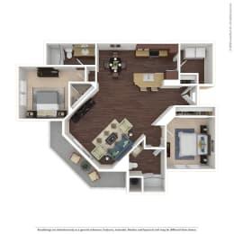 2 Bed, 2 Bath Floor Plan at Harvest Park Apartments, Santa Rosa, California