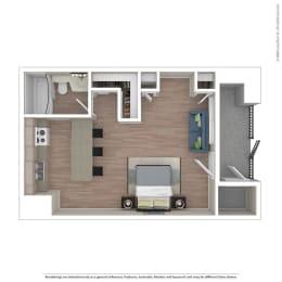 Studio Floor Plan at Independence Plaza, Canoga Park, California