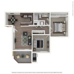 2BR/1BA 2 Bed 1 Bath Floor Plan at 1750 On First, Simi Valley, 93065