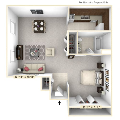 Floor Plan  The Sand Dollar Studio Floor Plan at Scarborough Lake Apartments, Indianapolis, Indiana