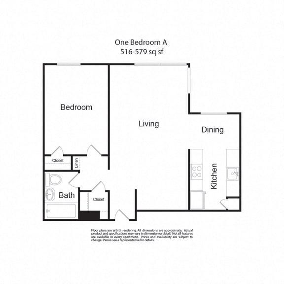 Floor Plan  LockVista FP OneBedroomA 1b1b 516-579sf