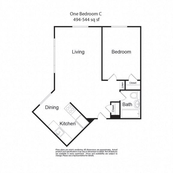 Floor Plan  LockVista FP|OneBedroomC|1b1b|494-544sf