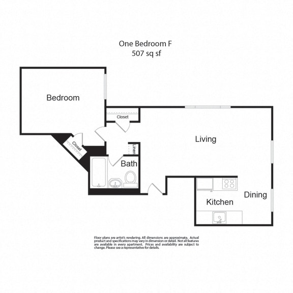 Floor Plan  LockVista FP OneBedroomF 1b1b 507sf