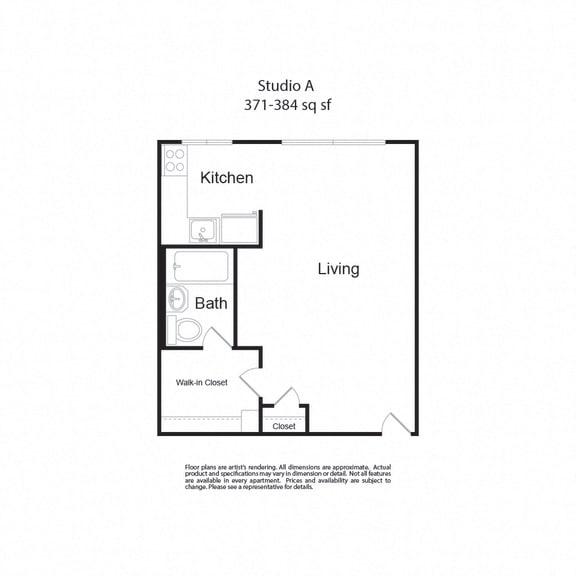 Floor Plan  LockVista FP|StudioA|studio|371-384sf