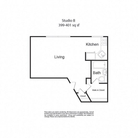 Floor Plan  LockVistaFP StudioB studio 399-401sf