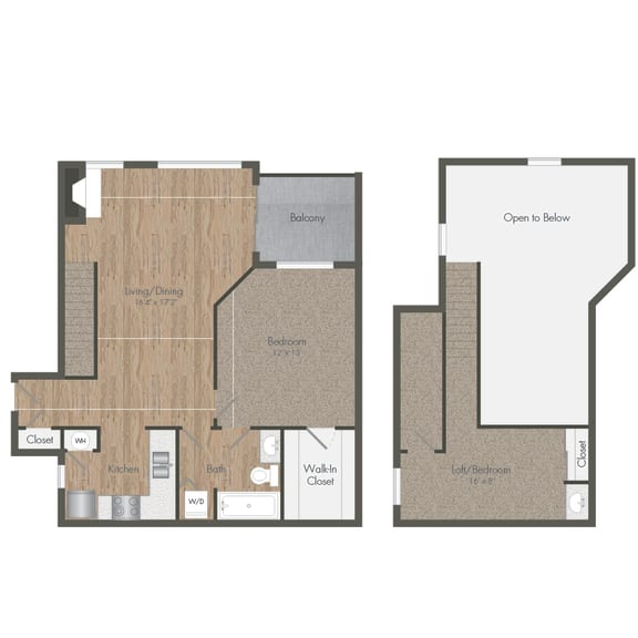 1 Bedroom 1 Bath Floorplan Loft