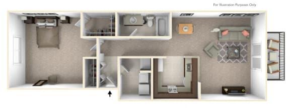 1-Bed/1-Bath, Viola Floor Plan at LakePointe Apartments, Batavia