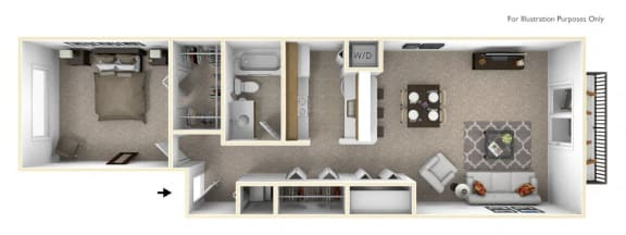 1-Bed/1-Bath, Peony Floor Plan at The Springs Apartment Homes, Novi, 48377