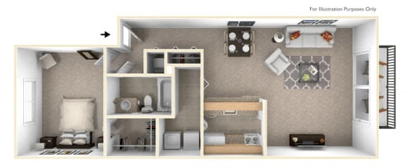 1-Bed/1-Bath, Senna Floor Plan at Westlake Apartments, Michigan