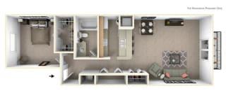 1-Bed/1-Bath, Peony Floor Plan at Hillside Apartments, Wixom, MI, 48393