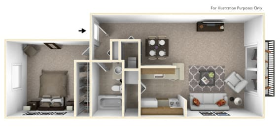 1-Bed/1-Bath, Wandflower Floor Plan at Southport Apartments, Belleville
