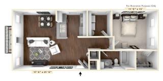 The Madison - 1 BR 1 BA Floor Plan at The Avenue at Polaris Apartments, Ohio