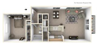 1-Bed/1-Bath, Wandflower Floor Plan at Hillside Apartments, Michigan