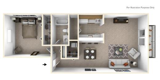 1-Bed/1-Bath, Verbena Floor Plan at The Springs Apartment Homes, Novi, 48377