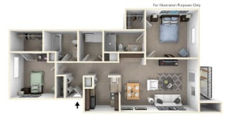 2-Bed/2-Bath, Bellflower Floor Plan at Killian Lakes Apartments and Townhomes, Columbia