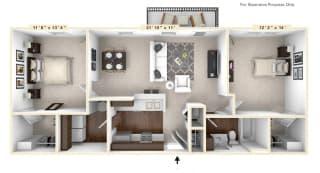 The Wall Street - 2 BR 1 BA Floor Plan at The Avenue at Polaris Apartments, Columbus, OH, 43240