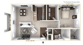 The Napa - 1 BR 1 BA Floor Plan at Bella Vista Apartments, Fishers, IN, 46038