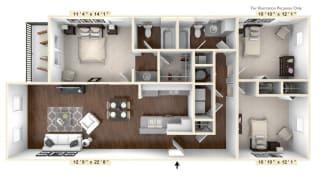 The Lombard - 3 BR 2 BA Floor Plan at The Avenue at Polaris Apartments, Columbus