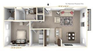 The Diplomat - 1 BR 1 BA Floor Plan at Alexandria of Carmel Apartments, Carmel